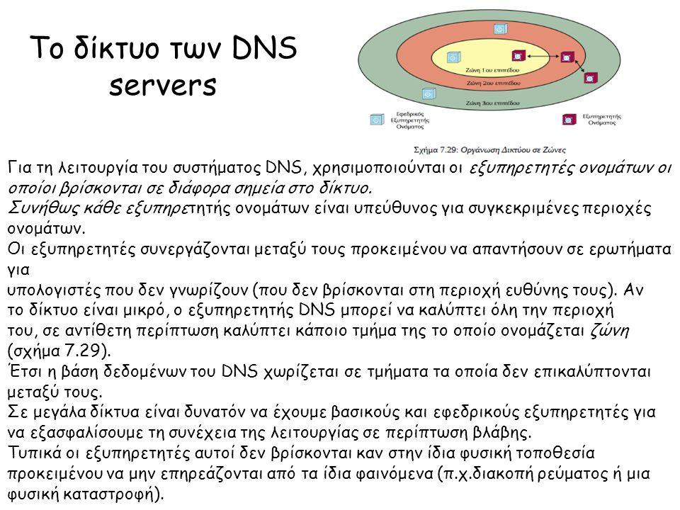 Το δίκτυο των DNS servers Για τη λειτουργία του συστήματος DNS, χρησιμοποιούνται οι εξυπηρετητές ονομάτων οι οποίοι βρίσκονται σε διάφορα σημεία στο δίκτυο.