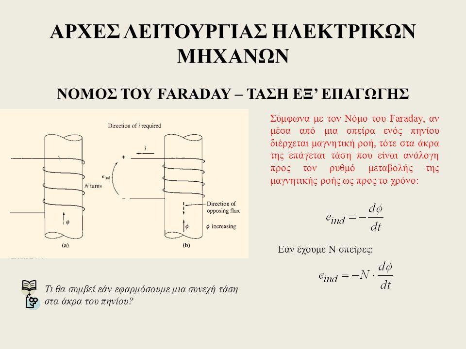 ΑΡΧΕΣ ΛΕΙΤΟΥΡΓΙΑΣ ΗΛΕΚΤΡΙΚΩΝ ΜΗΧΑΝΩΝ ΝΟΜΟΣ ΤΟΥ FARADAY – ΤΑΣΗ ΕΞ' ΕΠΑΓΩΓΗΣ Σύμφωνα με τον Νόμο του Faraday, αν μέσα από μια σπείρα ενός πηνίου διέρχεται μαγνητική ροή, τότε στα άκρα της επάγεται τάση που είναι ανάλογη προς τον ρυθμό μεταβολής της μαγνητικής ροής ως προς το χρόνο: Εάν έχουμε Ν σπείρες: Τι θα συμβεί εάν εφαρμόσουμε μια συνεχή τάση στα άκρα του πηνίου