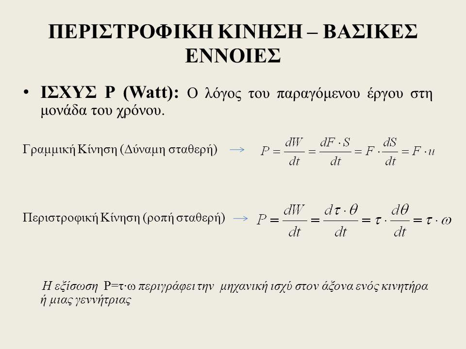 ΠΕΡΙΣΤΡΟΦΙΚΗ ΚΙΝΗΣΗ – ΒΑΣΙΚΕΣ ΕΝΝΟΙΕΣ ΙΣΧΥΣ P (Watt): Ο λόγος του παραγόμενου έργου στη μονάδα του χρόνου.