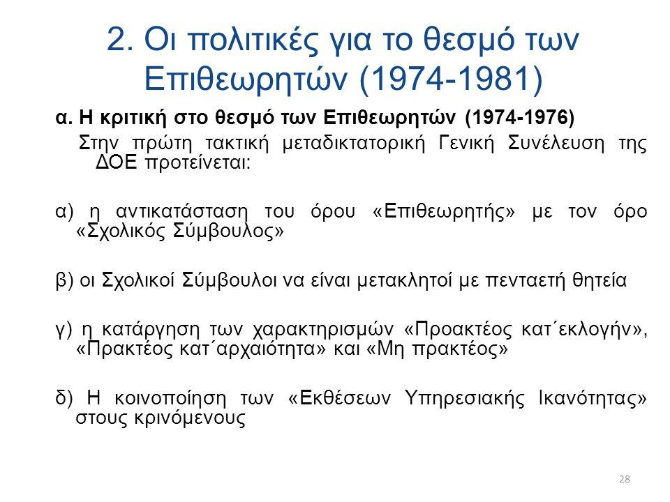 2. Οι πολιτικές για το θεσμό των Επιθεωρητών (1974-1981) α.