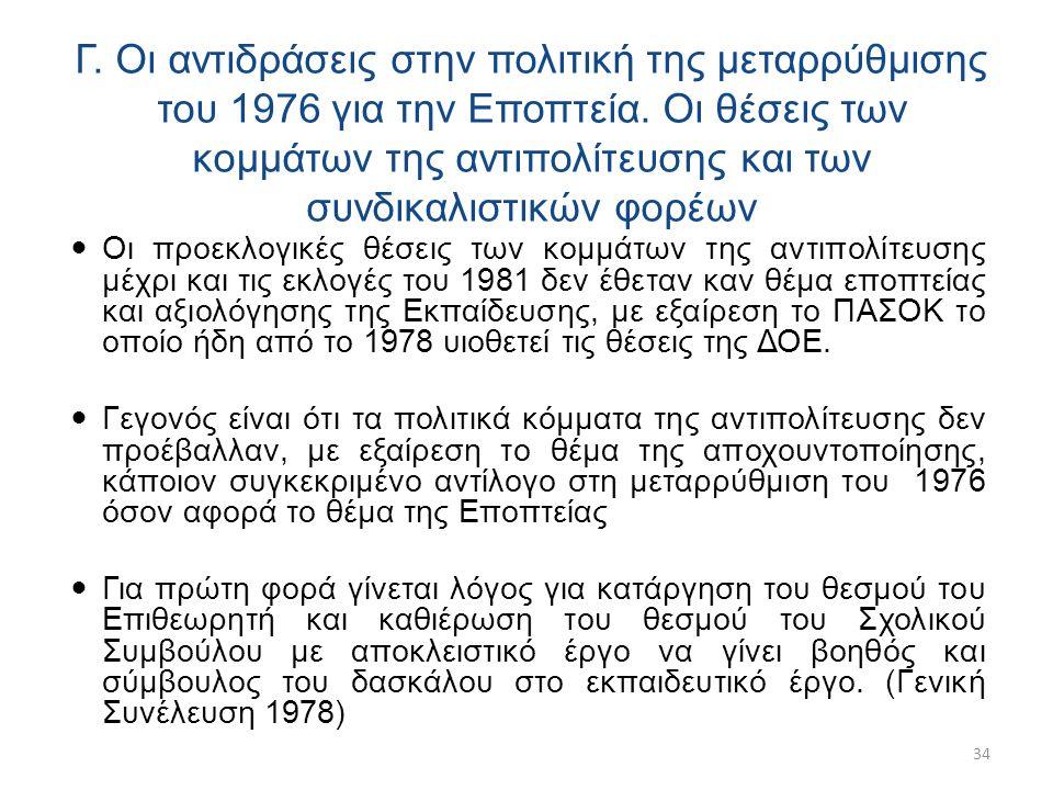 Γ. Οι αντιδράσεις στην πολιτική της μεταρρύθμισης του 1976 για την Εποπτεία.