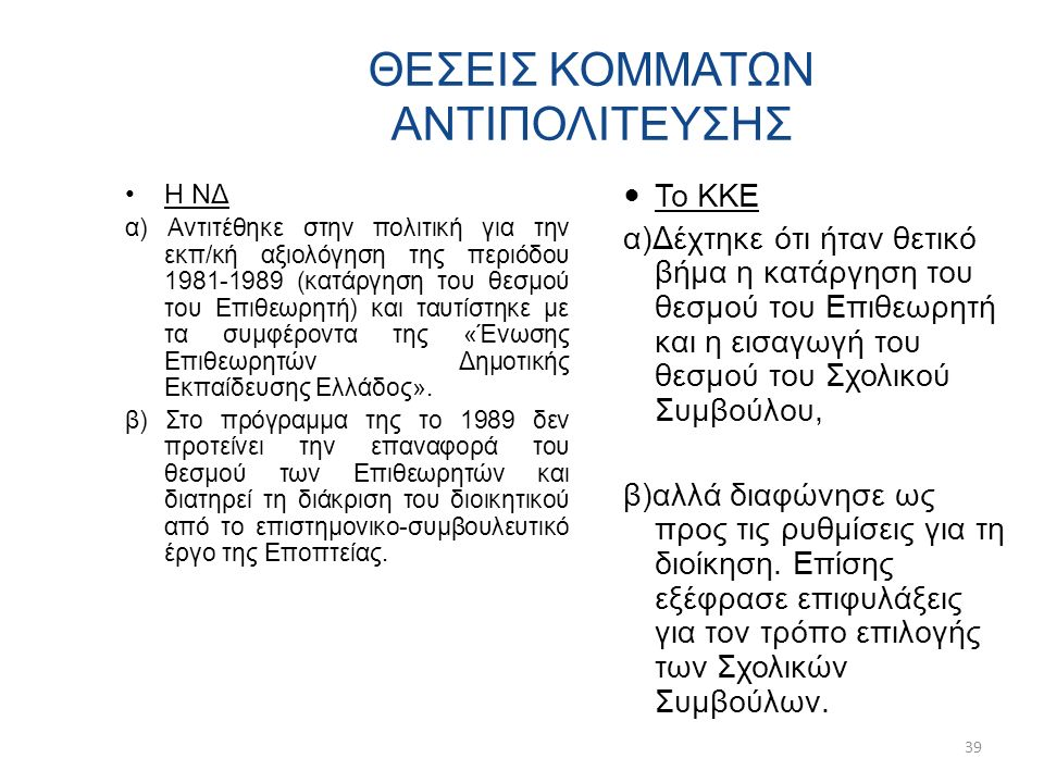ΘΕΣΕΙΣ ΚΟΜΜΑΤΩΝ ΑΝΤΙΠΟΛΙΤΕΥΣΗΣ Η ΝΔ α) Αντιτέθηκε στην πολιτική για την εκπ/κή αξιολόγηση της περιόδου 1981-1989 (κατάργηση του θεσμού του Επιθεωρητή) και ταυτίστηκε με τα συμφέροντα της «Ένωσης Επιθεωρητών Δημοτικής Εκπαίδευσης Ελλάδος».