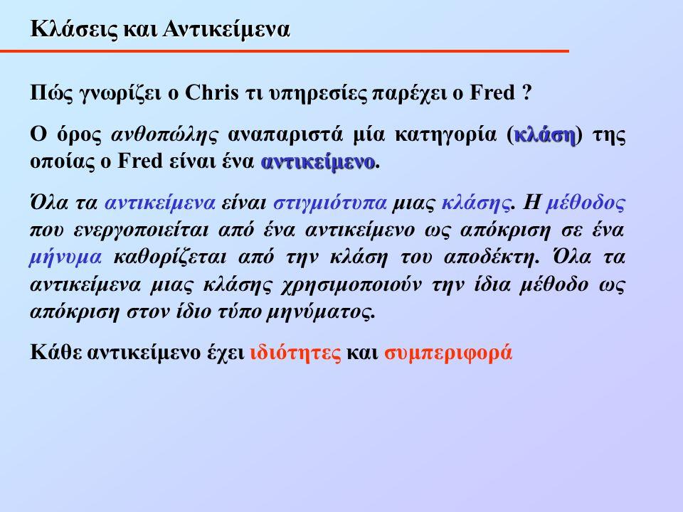 Κλάσεις και Αντικείμενα Πώς γνωρίζει ο Chris τι υπηρεσίες παρέχει ο Fred .