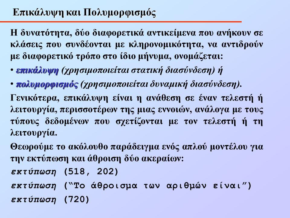 Επικάλυψη και Πολυμορφισμός Η δυνατότητα, δύο διαφορετικά αντικείμενα που ανήκουν σε κλάσεις που συνδέονται με κληρονομικότητα, να αντιδρούν με διαφορετικό τρόπο στο ίδιο μήνυμα, ονομάζεται: επικάλυψη επικάλυψη (χρησιμοποιείται στατική διασύνδεση) ή πολυμορφισμός πολυμορφισμός (χρησιμοποιείται δυναμική διασύνδεση).