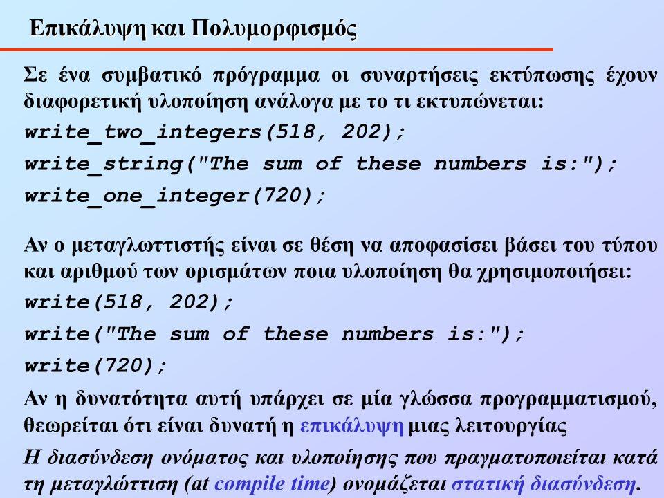 Επικάλυψη και Πολυμορφισμός Σε ένα συμβατικό πρόγραμμα οι συναρτήσεις εκτύπωσης έχουν διαφορετική υλοποίηση ανάλογα με το τι εκτυπώνεται: write_two_integers(518, 202); write_string( The sum of these numbers is: ); write_one_integer(720); Αν ο μεταγλωττιστής είναι σε θέση να αποφασίσει βάσει του τύπου και αριθμού των ορισμάτων ποια υλοποίηση θα χρησιμοποιήσει: write(518, 202); write( The sum of these numbers is: ); write(720); Αν η δυνατότητα αυτή υπάρχει σε μία γλώσσα προγραμματισμού, θεωρείται ότι είναι δυνατή η επικάλυψη μιας λειτουργίας Η διασύνδεση ονόματος και υλοποίησης που πραγματοποιείται κατά τη μεταγλώττιση (at compile time) ονομάζεται στατική διασύνδεση.