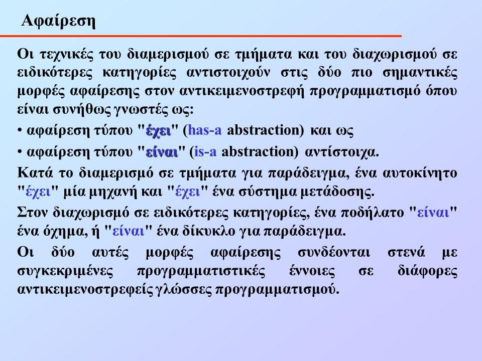 Αφαίρεση Οι τεχνικές του διαμερισμού σε τμήματα και του διαχωρισμού σε ειδικότερες κατηγορίες αντιστοιχούν στις δύο πιο σημαντικές μορφές αφαίρεσης στον αντικειμενοστρεφή προγραμματισμό όπου είναι συνήθως γνωστές ως: έχει αφαίρεση τύπου έχει (has-a abstraction) και ως είναι αφαίρεση τύπου είναι (is-a abstraction) αντίστοιχα.