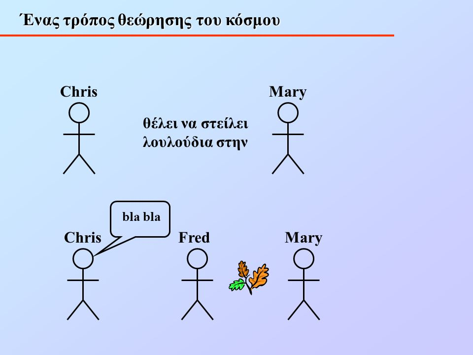 Ένας τρόπος θεώρησης του κόσμου Chris θέλει να στείλει λουλούδια στην Mary ChrisFred bla Mary