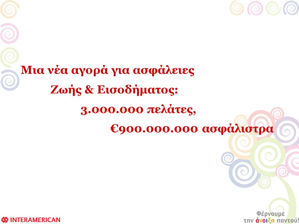 Μια νέα αγορά για ασφάλειες Ζωής & Εισοδήματος: 3.000.000 πελάτες, €900.000.000 ασφάλιστρα