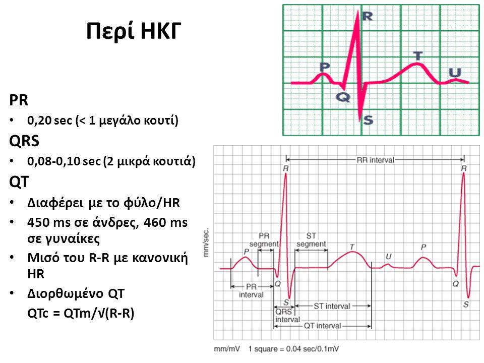 Περί ΗΚΓ PR 0,20 sec (< 1 μεγάλο κουτί) QRS 0,08-0,10 sec (2 μικρά κουτιά) QT Διαφέρει με το φύλο/HR 450 ms σε άνδρες, 460 ms σε γυναίκες Μισό του R-R με κανονική HR Διορθωμένο QT QTc = QTm/√(R-R)