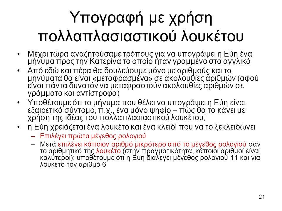21 Υπογραφή με χρήση πολλαπλασιαστικού λουκέτου Μέχρι τώρα αναζητούσαμε τρόπους για να υπογράψει η Εύη ένα μήνυμα προς την Κατερίνα το οποίο ήταν γραμμένο στα αγγλικά Από εδώ και πέρα θα δουλεύουμε μόνο με αριθμούς και τα μηνύματα θα είναι «μεταφρασμένα» σε ακολουθίες αριθμών (αφού είναι πάντα δυνατόν να μεταφραστούν ακολουθίες αριθμών σε γράμματα και αντίστροφα) Υποθέτουμε ότι το μήνυμα που θέλει να υπογράψει η Εύη είναι εξαιρετικά σύντομο, π.χ., ένα μόνο ψηφίο – πώς θα το κάνει με χρήση της ιδέας του πολλαπλασιαστικού λουκέτου; η Εύη χρειάζεται ένα λουκέτο και ένα κλειδί που να το ξεκλειδώνει –Επιλέγει πρώτα μέγεθος ρολογιού –Μετά επιλέγει κάποιον αριθμό μικρότερο από το μέγεθος ρολογιού σαν το αριθμητικό της λουκέτο (στην πραγματικότητα, κάποιοι αριθμοί είναι καλύτεροι): υποθέτουμε ότι η Εύη διαλέγει μέγεθος ρολογιού 11 και για λουκέτο τον αριθμό 6