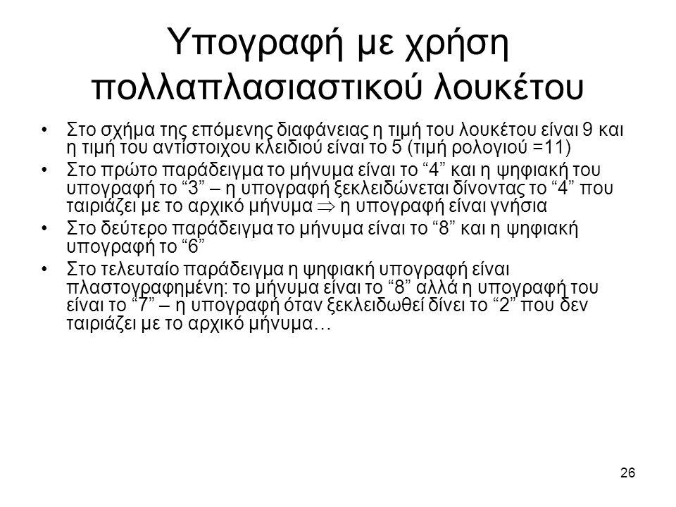 26 Υπογραφή με χρήση πολλαπλασιαστικού λουκέτου Στο σχήμα της επόμενης διαφάνειας η τιμή του λουκέτου είναι 9 και η τιμή του αντίστοιχου κλειδιού είναι το 5 (τιμή ρολογιού =11) Στο πρώτο παράδειγμα το μήνυμα είναι το 4 και η ψηφιακή του υπογραφή το 3 – η υπογραφή ξεκλειδώνεται δίνοντας το 4 που ταιριάζει με το αρχικό μήνυμα  η υπογραφή είναι γνήσια Στο δεύτερο παράδειγμα το μήνυμα είναι το 8 και η ψηφιακή υπογραφή το 6 Στο τελευταίο παράδειγμα η ψηφιακή υπογραφή είναι πλαστογραφημένη: το μήνυμα είναι το 8 αλλά η υπογραφή του είναι το 7 – η υπογραφή όταν ξεκλειδωθεί δίνει το 2 που δεν ταιριάζει με το αρχικό μήνυμα…
