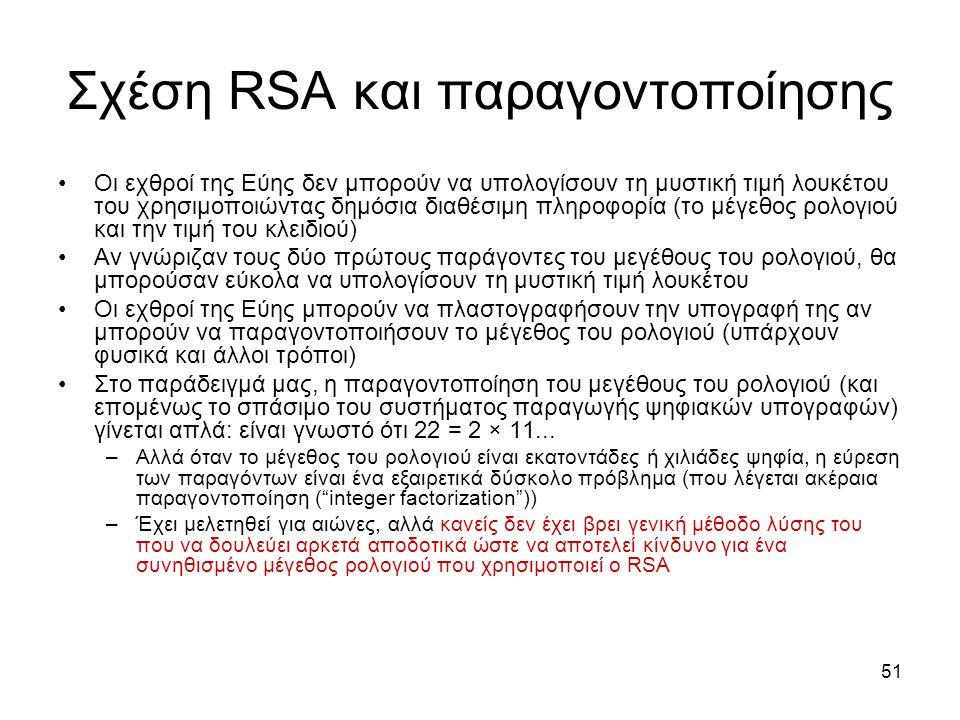 51 Σχέση RSA και παραγοντοποίησης Οι εχθροί της Εύης δεν μπορούν να υπολογίσουν τη μυστική τιμή λουκέτου του χρησιμοποιώντας δημόσια διαθέσιμη πληροφορία (το μέγεθος ρολογιού και την τιμή του κλειδιού) Αν γνώριζαν τους δύο πρώτους παράγοντες του μεγέθους του ρολογιού, θα μπορούσαν εύκολα να υπολογίσουν τη μυστική τιμή λουκέτου Οι εχθροί της Εύης μπορούν να πλαστογραφήσουν την υπογραφή της αν μπορούν να παραγοντοποιήσουν το μέγεθος του ρολογιού (υπάρχουν φυσικά και άλλοι τρόποι) Στο παράδειγμά μας, η παραγοντοποίηση του μεγέθους του ρολογιού (και επομένως το σπάσιμο του συστήματος παραγωγής ψηφιακών υπογραφών) γίνεται απλά: είναι γνωστό ότι 22 = 2 × 11...