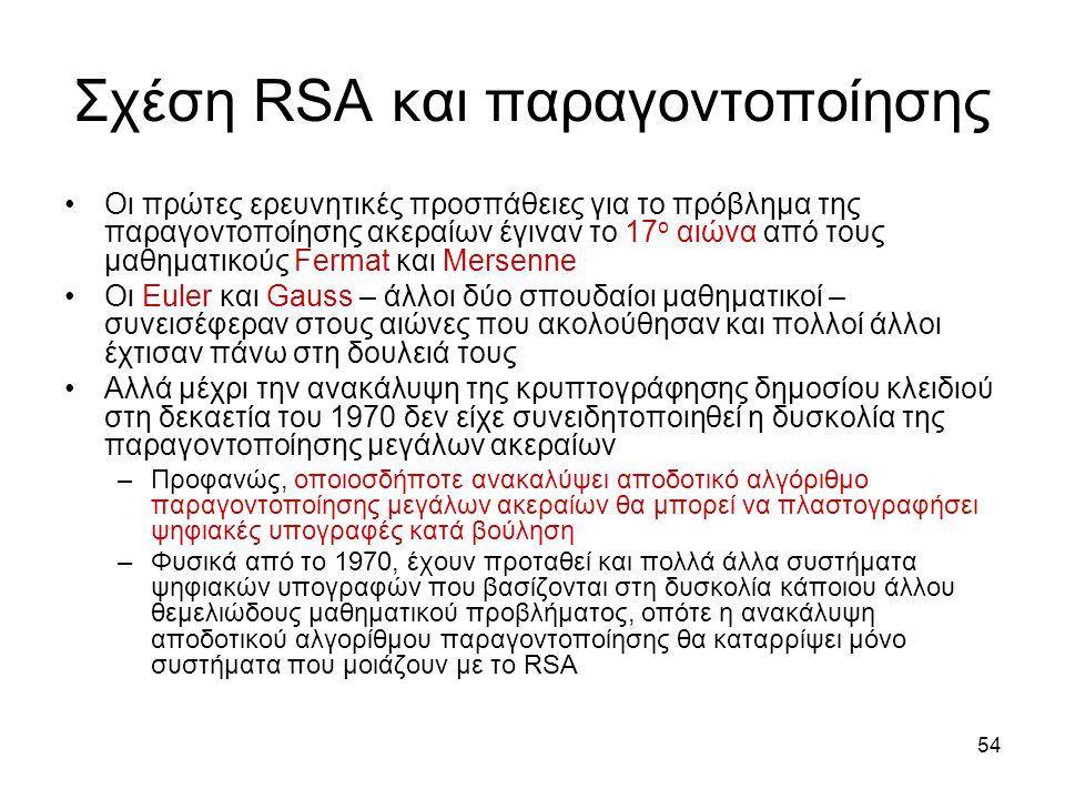 54 Σχέση RSA και παραγοντοποίησης Οι πρώτες ερευνητικές προσπάθειες για το πρόβλημα της παραγοντοποίησης ακεραίων έγιναν το 17 ο αιώνα από τους μαθηματικούς Fermat και Mersenne Οι Euler και Gauss – άλλοι δύο σπουδαίοι μαθηματικοί – συνεισέφεραν στους αιώνες που ακολούθησαν και πολλοί άλλοι έχτισαν πάνω στη δουλειά τους Αλλά μέχρι την ανακάλυψη της κρυπτογράφησης δημοσίου κλειδιού στη δεκαετία του 1970 δεν είχε συνειδητοποιηθεί η δυσκολία της παραγοντοποίησης μεγάλων ακεραίων –Προφανώς, οποιοσδήποτε ανακαλύψει αποδοτικό αλγόριθμο παραγοντοποίησης μεγάλων ακεραίων θα μπορεί να πλαστογραφήσει ψηφιακές υπογραφές κατά βούληση –Φυσικά από το 1970, έχουν προταθεί και πολλά άλλα συστήματα ψηφιακών υπογραφών που βασίζονται στη δυσκολία κάποιου άλλου θεμελιώδους μαθηματικού προβλήματος, οπότε η ανακάλυψη αποδοτικού αλγορίθμου παραγοντοποίησης θα καταρρίψει μόνο συστήματα που μοιάζουν με το RSA