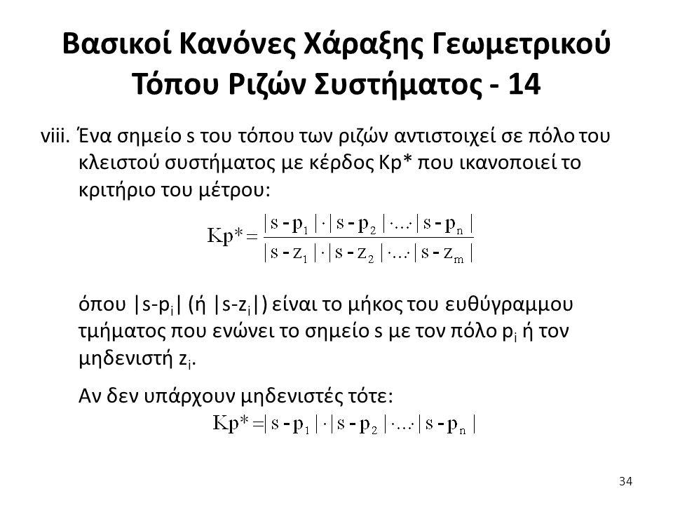 viii.Ένα σημείο s του τόπου των ριζών αντιστοιχεί σε πόλο του κλειστού συστήματος με κέρδος Κp* που ικανοποιεί το κριτήριο του μέτρου: όπου |s-p i | (ή |s-z i |) είναι το μήκος του ευθύγραμμου τμήματος που ενώνει το σημείο s με τον πόλο p i ή τον μηδενιστή z i.