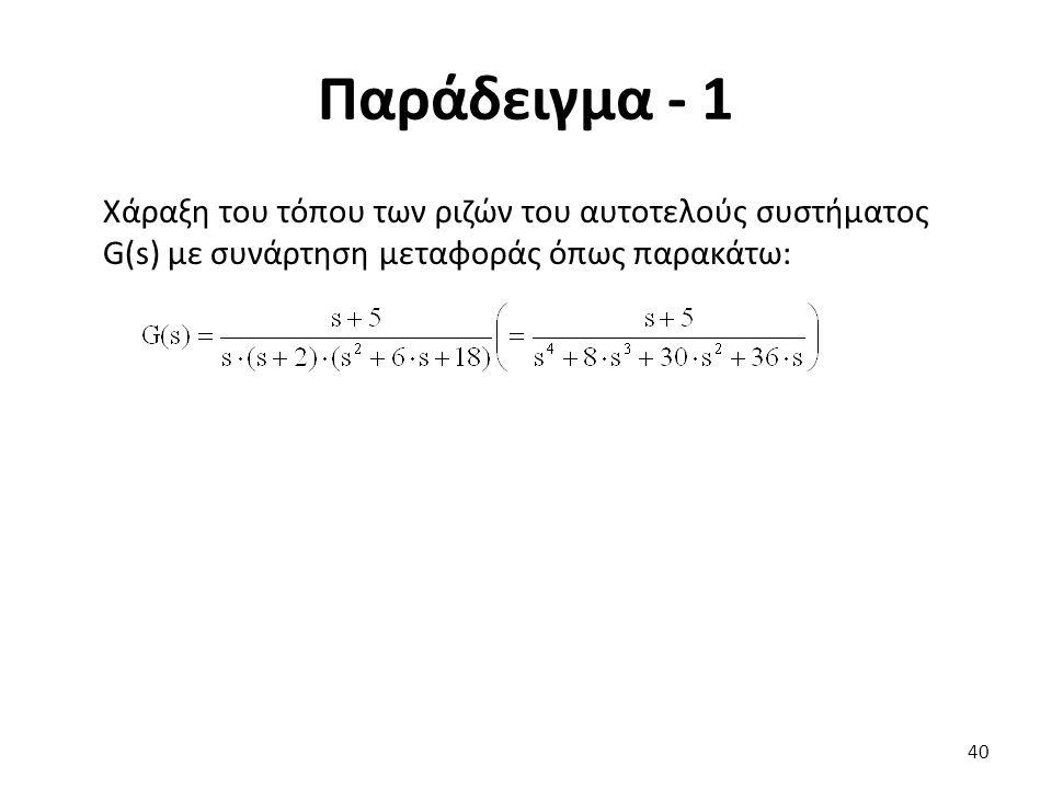 Παράδειγμα - 1 Χάραξη του τόπου των ριζών του αυτοτελούς συστήματος G(s) με συνάρτηση μεταφοράς όπως παρακάτω: 40