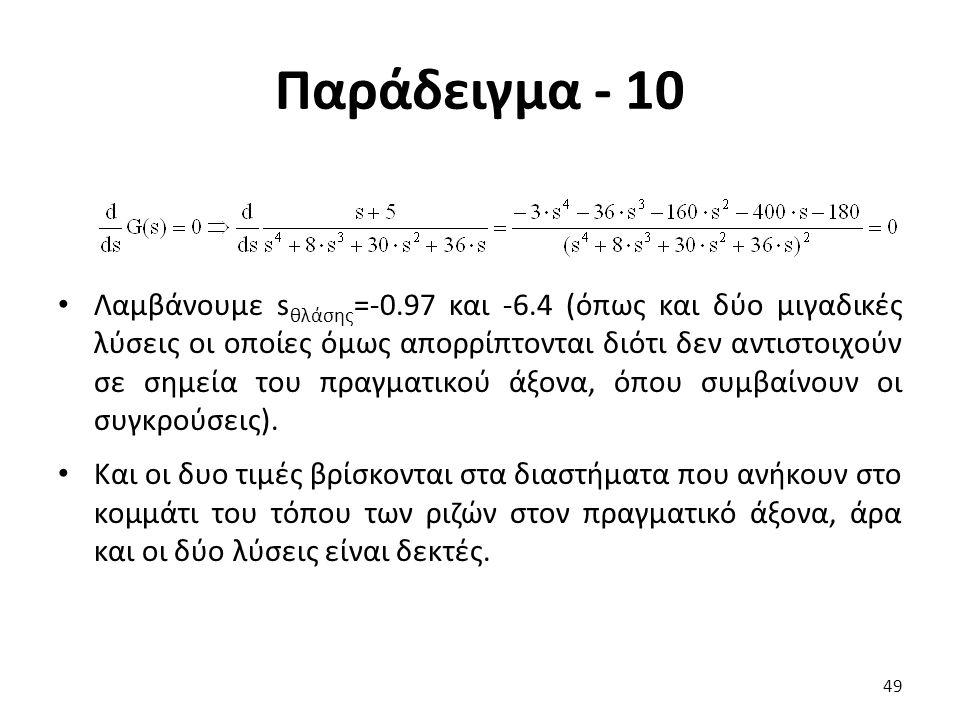 Παράδειγμα - 10 49 Λαμβάνουμε s θλάσης =-0.97 και -6.4 (όπως και δύο μιγαδικές λύσεις οι οποίες όμως απορρίπτονται διότι δεν αντιστοιχούν σε σημεία του πραγματικού άξονα, όπου συμβαίνουν οι συγκρούσεις).