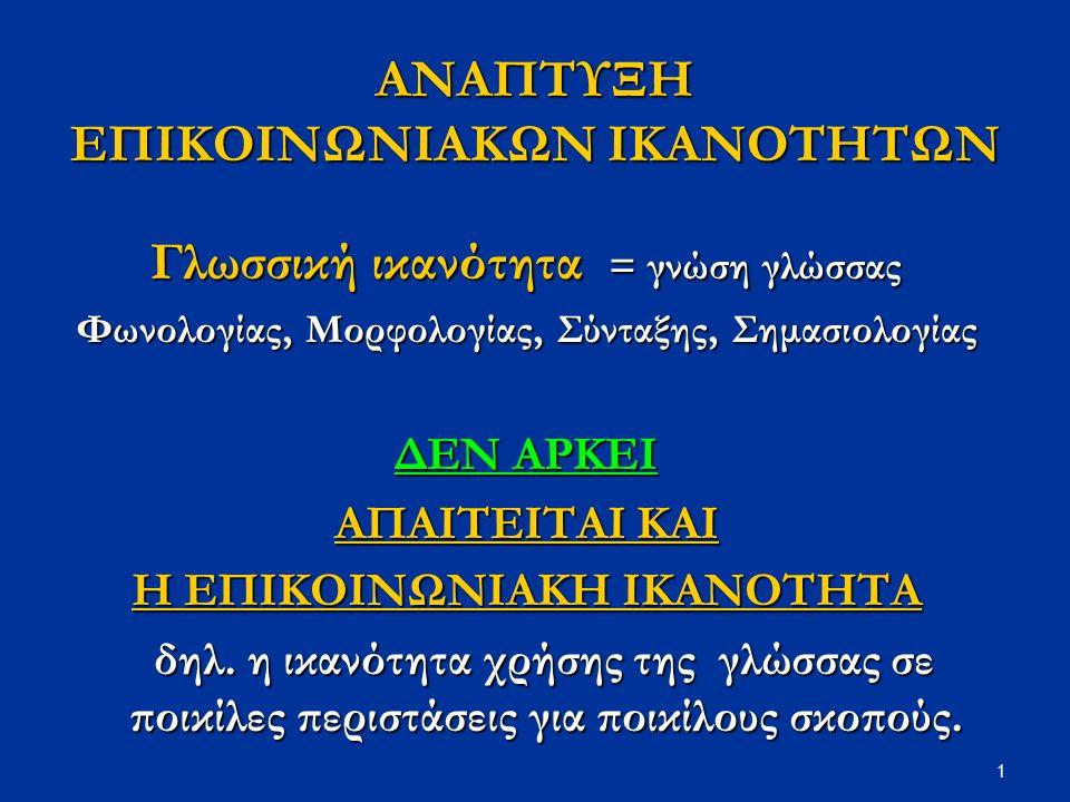 1 ANAΠΤΥΞΗ ΕΠΙΚΟΙΝΩΝΙΑΚΩΝ ΙΚΑΝΟΤΗΤΩΝ Γλωσσική ικανότητα = γνώση γλώσσας Φωνολογίας, Μορφολογίας, Σύνταξης, Σημασιολογίας ΔΕΝ ΑΡΚΕΙ ΑΠΑΙΤΕΙΤΑΙ ΚΑΙ Η ΕΠΙΚΟΙΝΩΝΙΑΚΗ ΙΚΑΝΟΤΗΤΑ δηλ.