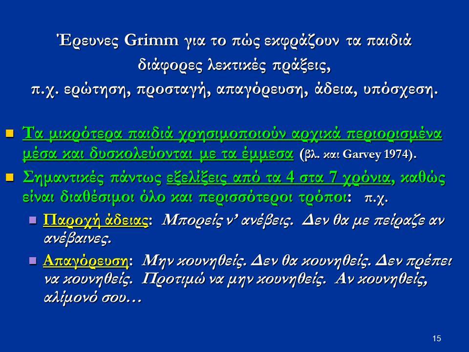 15 Έρευνες Grimm για το πώς εκφράζουν τα παιδιά διάφορες λεκτικές πράξεις, π.χ.