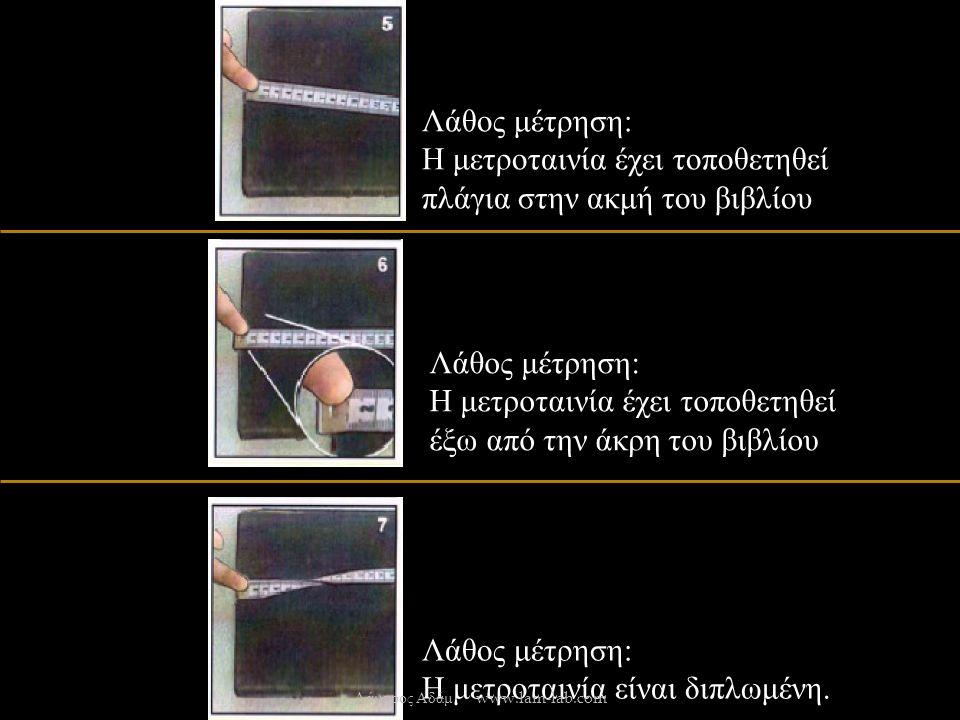 Λάθος μέτρηση : Η μετροταινία έχει τοποθετηθεί πλάγια στην ακμή του βιβλίου Λάθος μέτρηση : Η μετροταινία έχει τοποθετηθεί έξω από την άκρη του βιβλίου Λάθος μέτρηση : Η μετροταινία είναι διπλωμένη.