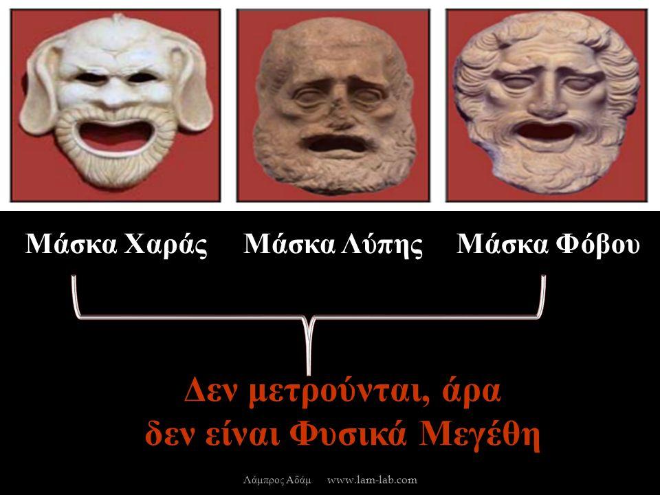 Μάσκα ΧαράςΜάσκα ΛύπηςΜάσκα Φόβου Δεν μετρούνται, άρα δεν είναι Φυσικά Μεγέθη Λάμπρος Αδάμ www.lam-lab.com