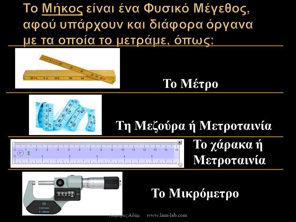 Το Μέτρο Τη Μεζούρα ή Μετροταινία Το χάρακα ή Μετροταινία Το Μικρόμετρο Λάμπρος Αδάμ www.lam-lab.com