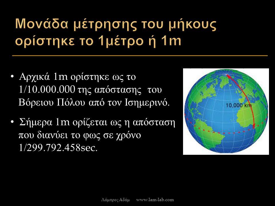 Αρχικά 1m ορίστηκε ως το 1/10.000.000 της απόστασης του Βόρειου Πόλου από τον Ισημερινό.