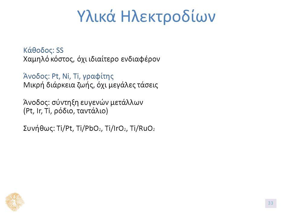 Υλικά Ηλεκτροδίων Κάθοδος: SS Χαμηλό κόστος, όχι ιδιαίτερο ενδιαφέρον Άνοδος: Pt, Ni, Ti, γραφίτης Μικρή διάρκεια ζωής, όχι μεγάλες τάσεις Άνοδος: σύντηξη ευγενών μετάλλων (Pt, Ir, Ti, ρόδιο, ταντάλιο) Συνήθως: Ti/Pt, Ti/PbO 2, Ti/IrO 2, Ti/RuO 2 33