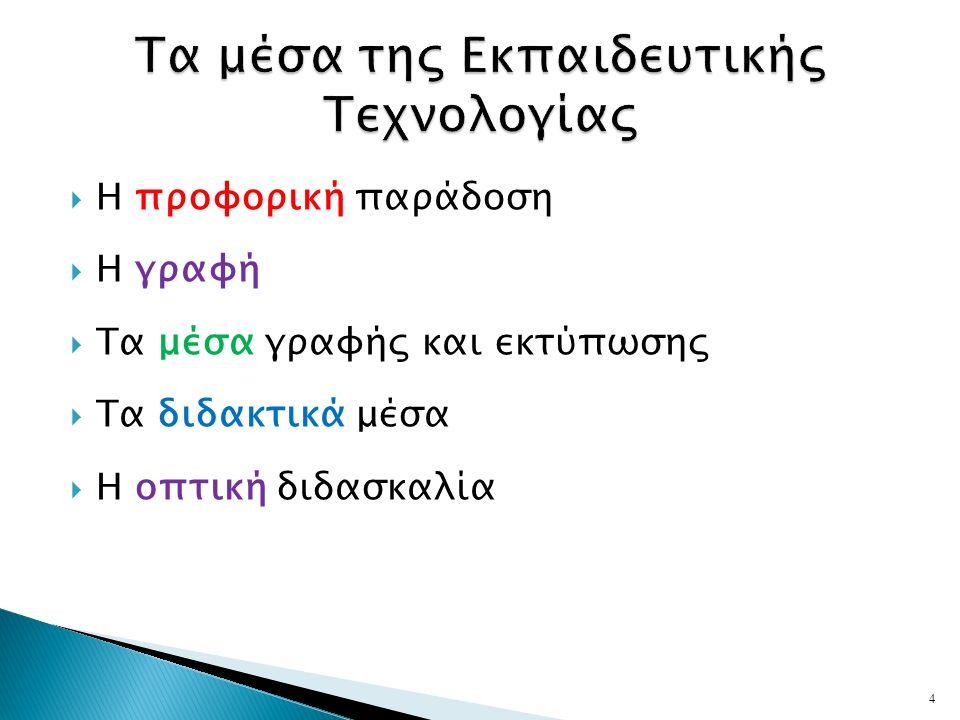  Η προφορική παράδοση  Η γραφή  Τα μέσα γραφής και εκτύπωσης  Τα διδακτικά μέσα  Η οπτική διδασκαλία 4
