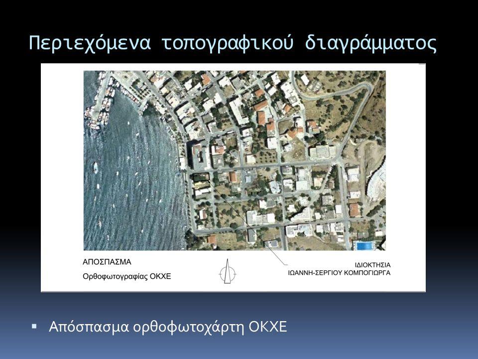 Περιεχόμενα τοπογραφικού διαγράμματος  Απόσπασμα ορθοφωτοχάρτη ΟΚΧΕ
