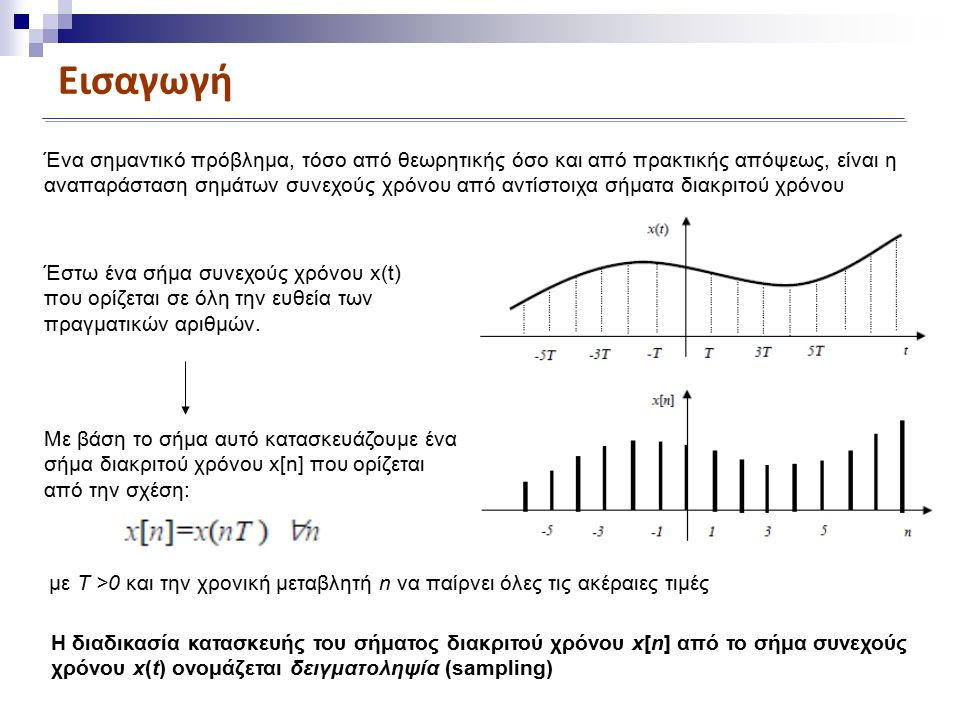 Εισαγωγή Ένα σημαντικό πρόβλημα, τόσο από θεωρητικής όσο και από πρακτικής απόψεως, είναι η αναπαράσταση σημάτων συνεχούς χρόνου από αντίστοιχα σήματα διακριτού χρόνου Έστω ένα σήμα συνεχούς χρόνου x(t) που ορίζεται σε όλη την ευθεία των πραγματικών αριθμών.