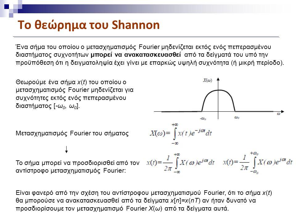 Το θεώρημα του Shannon Ένα σήμα του οποίου ο μετασχηματισμός Fourier μηδενίζεται εκτός ενός πεπερασμένου διαστήματος συχνοτήτων μπορεί να ανακατασκευασθεί από τα δείγματά του υπό την προϋπόθεση ότι η δειγματοληψία έχει γίνει με επαρκώς υψηλή συχνότητα (ή μικρή περίοδο).