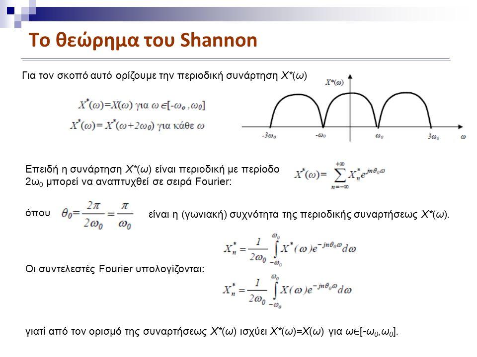 Το θεώρημα του Shannon Για τον σκοπό αυτό ορίζουμε την περιοδική συνάρτηση X*(ω) Επειδή η συνάρτηση X*(ω) είναι περιοδική με περίοδο 2ω 0 μπορεί να αναπτυχθεί σε σειρά Fourier: όπου είναι η (γωνιακή) συχνότητα της περιοδικής συναρτήσεως X*(ω).