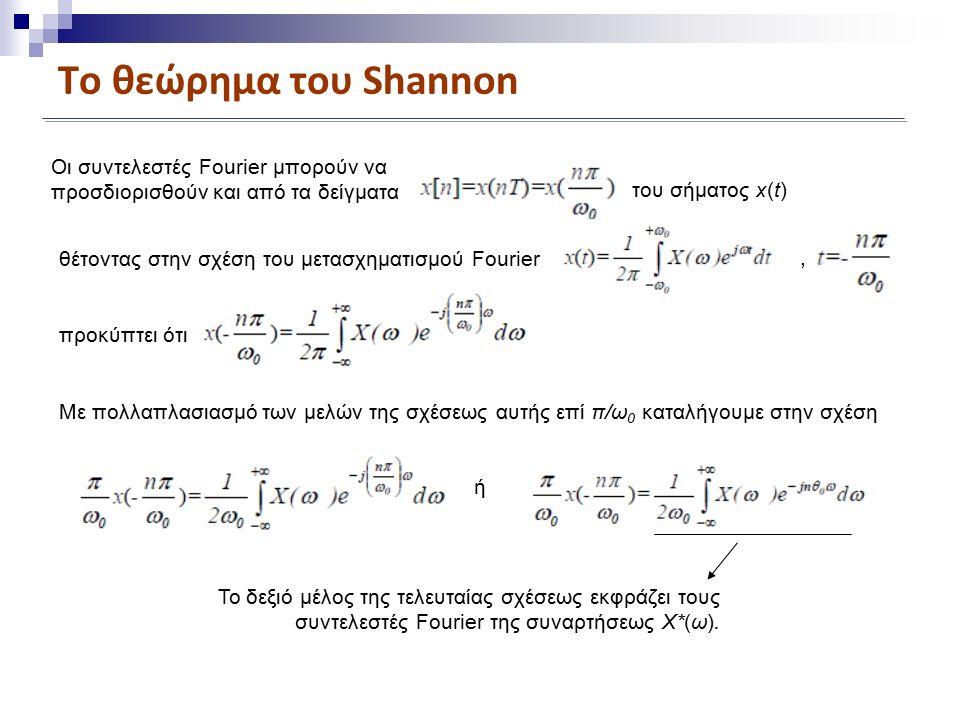Το θεώρημα του Shannon Οι συντελεστές Fourier μπορούν να προσδιορισθούν και από τα δείγματα του σήματος x(t) θέτοντας στην σχέση του μετασχηματισμού Fourier προκύπτει ότι, Με πολλαπλασιασμό των μελών της σχέσεως αυτής επί π/ω 0 καταλήγουμε στην σχέση ή Το δεξιό μέλος της τελευταίας σχέσεως εκφράζει τους συντελεστές Fourier της συναρτήσεως X*(ω).