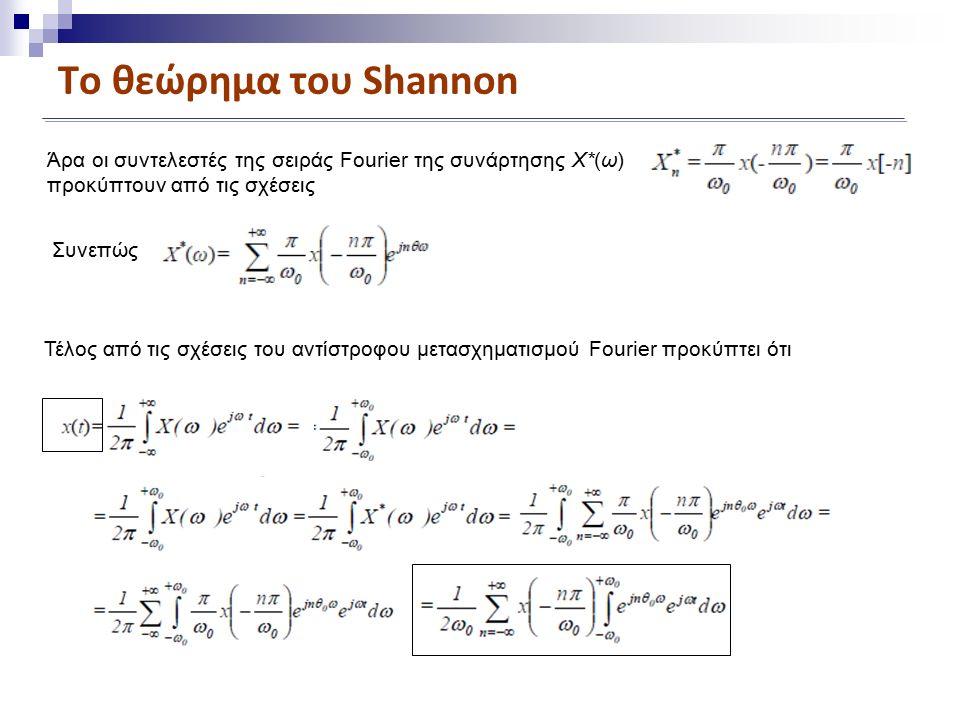 Το θεώρημα του Shannon Άρα οι συντελεστές της σειράς Fourier της συνάρτησης X*(ω) προκύπτουν από τις σχέσεις Συνεπώς Τέλος από τις σχέσεις του αντίστροφου μετασχηματισμού Fourier προκύπτει ότι