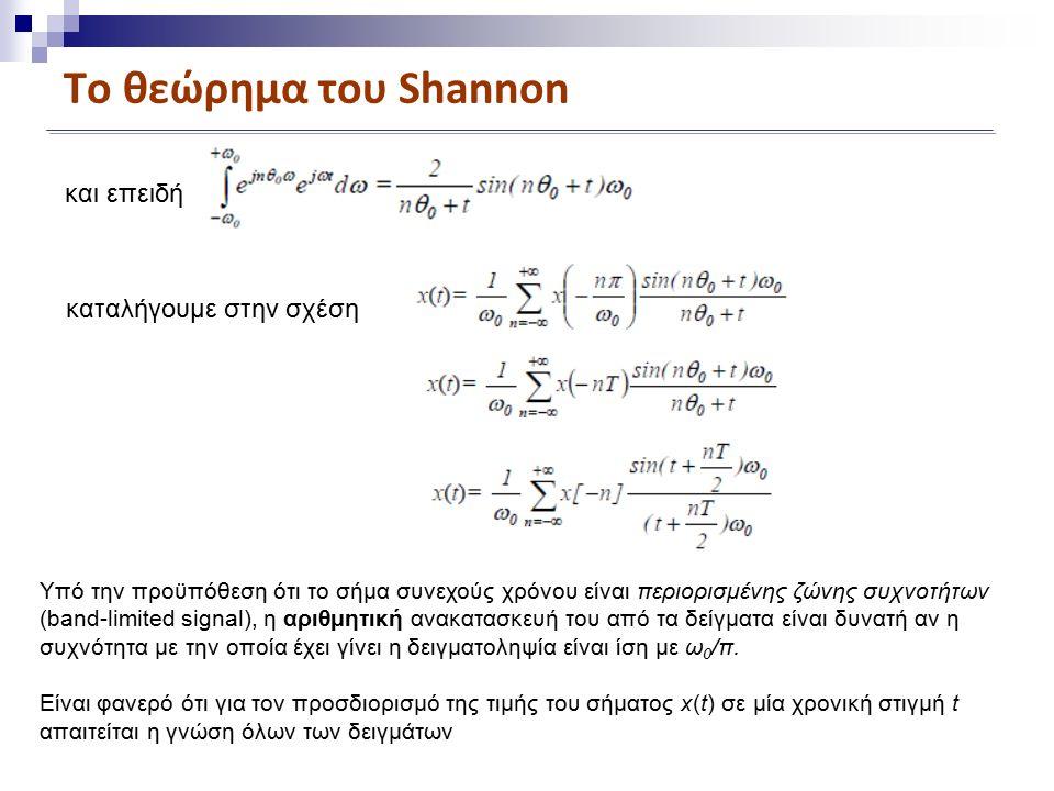 Το θεώρημα του Shannon και επειδή καταλήγουμε στην σχέση Υπό την προϋπόθεση ότι το σήμα συνεχούς χρόνου είναι περιορισμένης ζώνης συχνοτήτων (band-limited signal), η αριθμητική ανακατασκευή του από τα δείγματα είναι δυνατή αν η συχνότητα με την οποία έχει γίνει η δειγματοληψία είναι ίση με ω 0 /π.