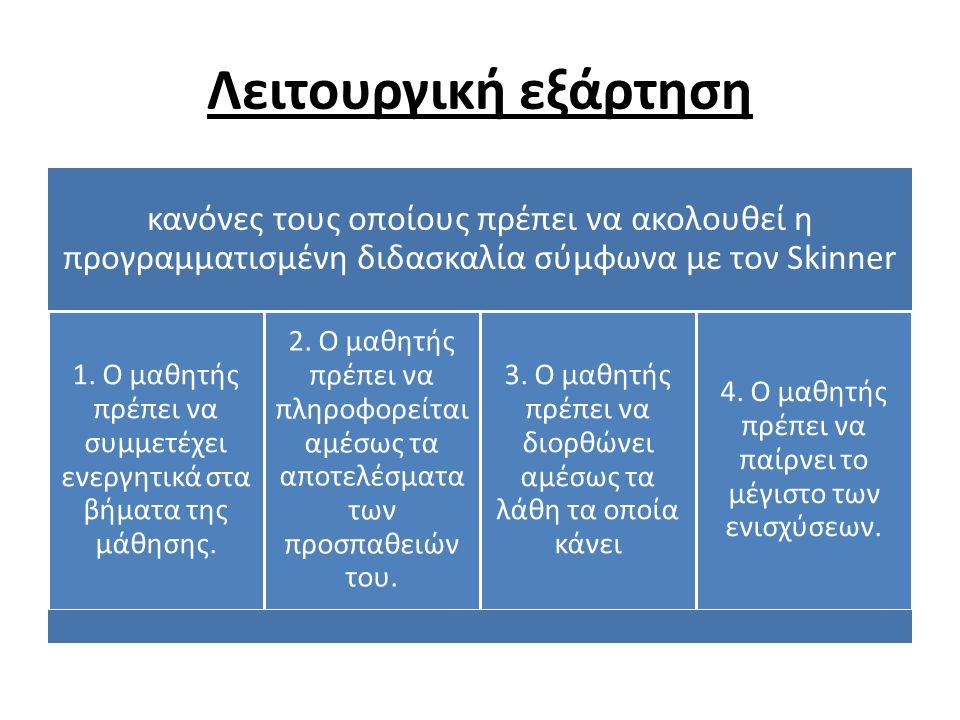 Λειτουργική εξάρτηση κανόνες τους οποίους πρέπει να ακολουθεί η προγραμματισμένη διδασκαλία σύμφωνα με τον Skinner 1.