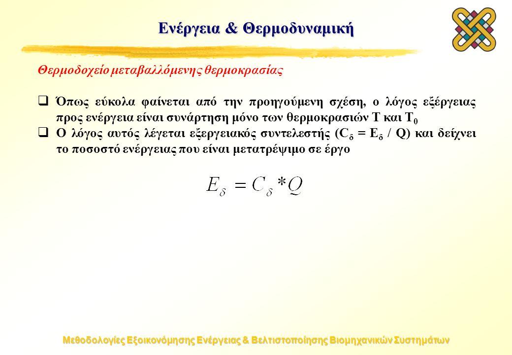 Μεθοδολογίες Εξοικονόμησης Ενέργειας & Βελτιστοποίησης Βιομηχανικών Συστημάτων Θερμοδοχείο μεταβαλλόμενης θερμοκρασίας  Όπως εύκολα φαίνεται από την προηγούμενη σχέση, ο λόγος εξέργειας προς ενέργεια είναι συνάρτηση μόνο των θερμοκρασιών T και T 0  Ο λόγος αυτός λέγεται εξεργειακός συντελεστής (C δ = E δ / Q) και δείχνει το ποσοστό ενέργειας που είναι μετατρέψιμο σε έργο Ενέργεια & Θερμοδυναμική