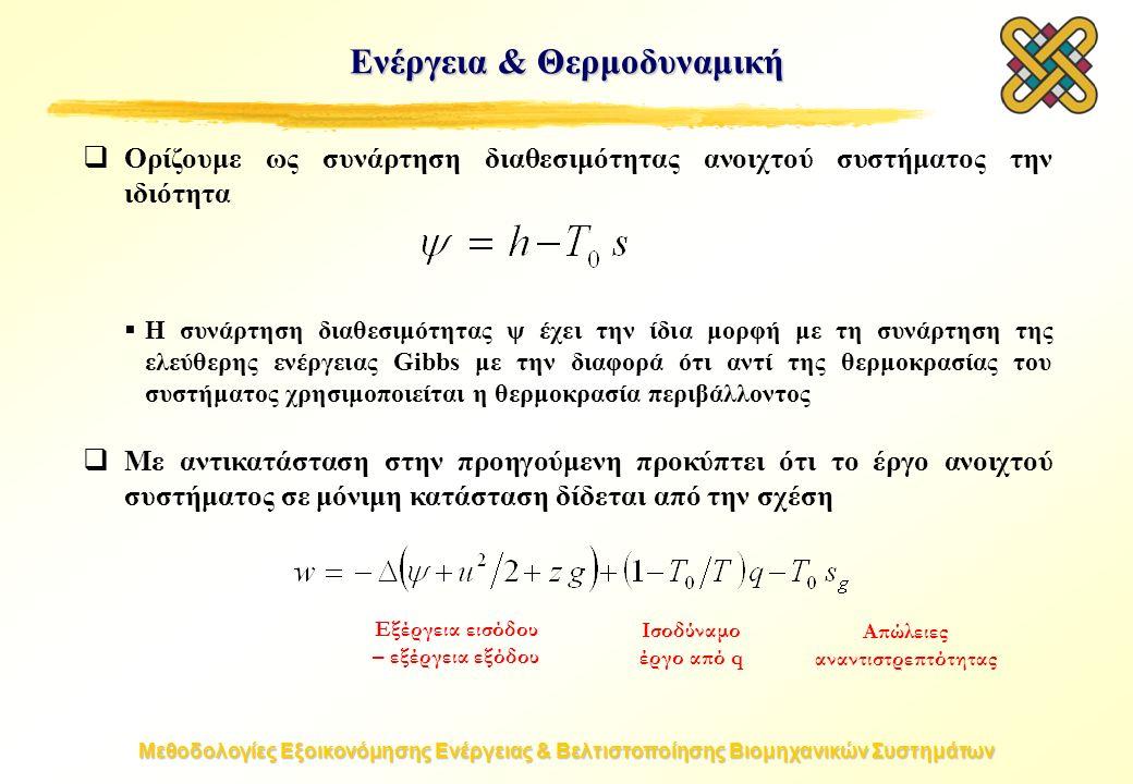 Μεθοδολογίες Εξοικονόμησης Ενέργειας & Βελτιστοποίησης Βιομηχανικών Συστημάτων  Ορίζουμε ως συνάρτηση διαθεσιμότητας ανοιχτού συστήματος την ιδιότητα  Η συνάρτηση διαθεσιμότητας ψ έχει την ίδια μορφή με τη συνάρτηση της ελεύθερης ενέργειας Gibbs με την διαφορά ότι αντί της θερμοκρασίας του συστήματος χρησιμοποιείται η θερμοκρασία περιβάλλοντος  Με αντικατάσταση στην προηγούμενη προκύπτει ότι το έργο ανοιχτού συστήματος σε μόνιμη κατάσταση δίδεται από την σχέση Ενέργεια & Θερμοδυναμική Εξέργεια εισόδου – εξέργεια εξόδου Ισοδύναμο έργο από q Απώλειες αναντιστρεπτότητας