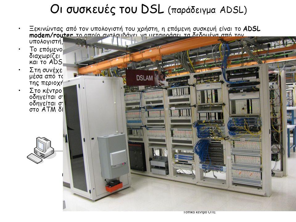 Οι συσκευές του DSL (παράδειγμα ADSL) Ξεκινώντας από τον υπολογιστή του χρήστη, η επόμενη συσκευή είναι το ADSL modem/router το οποίο αναλαμβάνει να μεταφράσει τα δεδομένα από τον υπολογιστή, σε σήμα κατάλληλο να περάσει από τη χάλκινη τηλεφωνική γραμμή.