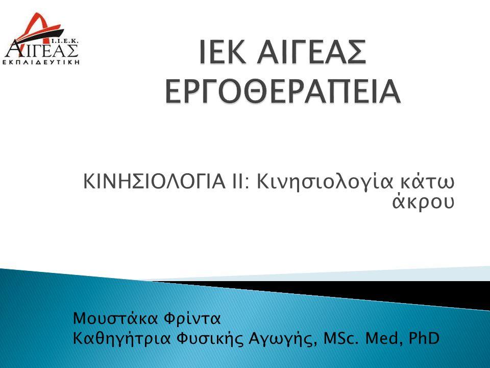 ΚΙΝΗΣΙΟΛΟΓΙΑ ΙΙ: Κινησιολογία κάτω άκρου Μουστάκα Φρίντα Καθηγήτρια Φυσικής Αγωγής, MSc. Med, PhD