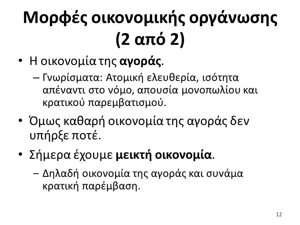Μορφές οικονομικής οργάνωσης (2 από 2) Η οικονομία της αγοράς.