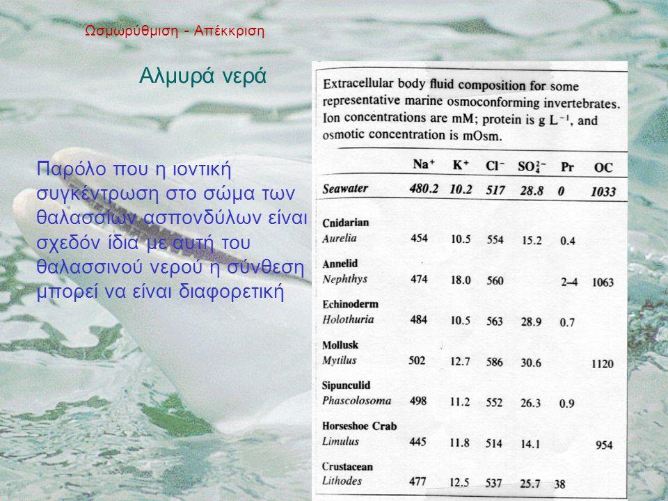 Ωσμωρύθμιση - Απέκκριση Αλμυρά νερά Παρόλο που η ιοντική συγκέντρωση στο σώμα των θαλασσίων ασπονδύλων είναι σχεδόν ίδια με αυτή του θαλασσινού νερού η σύνθεση μπορεί να είναι διαφορετική