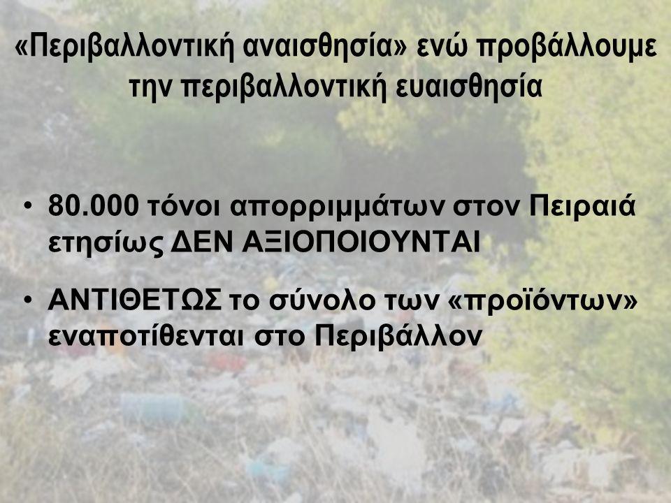 «Περιβαλλοντική αναισθησία» ενώ προβάλλουμε την περιβαλλοντική ευαισθησία 80.000 τόνοι απορριμμάτων στον Πειραιά ετησίως ΔΕΝ ΑΞΙΟΠΟΙΟΥΝΤΑΙ ΑΝΤΙΘΕΤΩΣ το σύνολο των «προϊόντων» εναποτίθενται στο Περιβάλλον