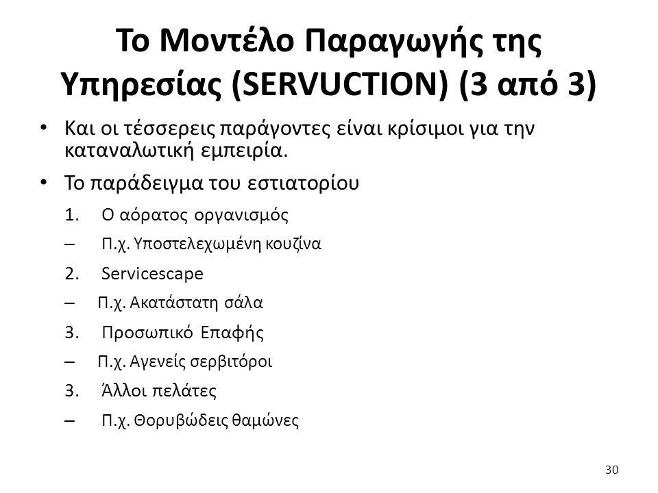 Το Μοντέλο Παραγωγής της Υπηρεσίας (SERVUCTION) (3 από 3) Και οι τέσσερεις παράγοντες είναι κρίσιμοι για την καταναλωτική εμπειρία.