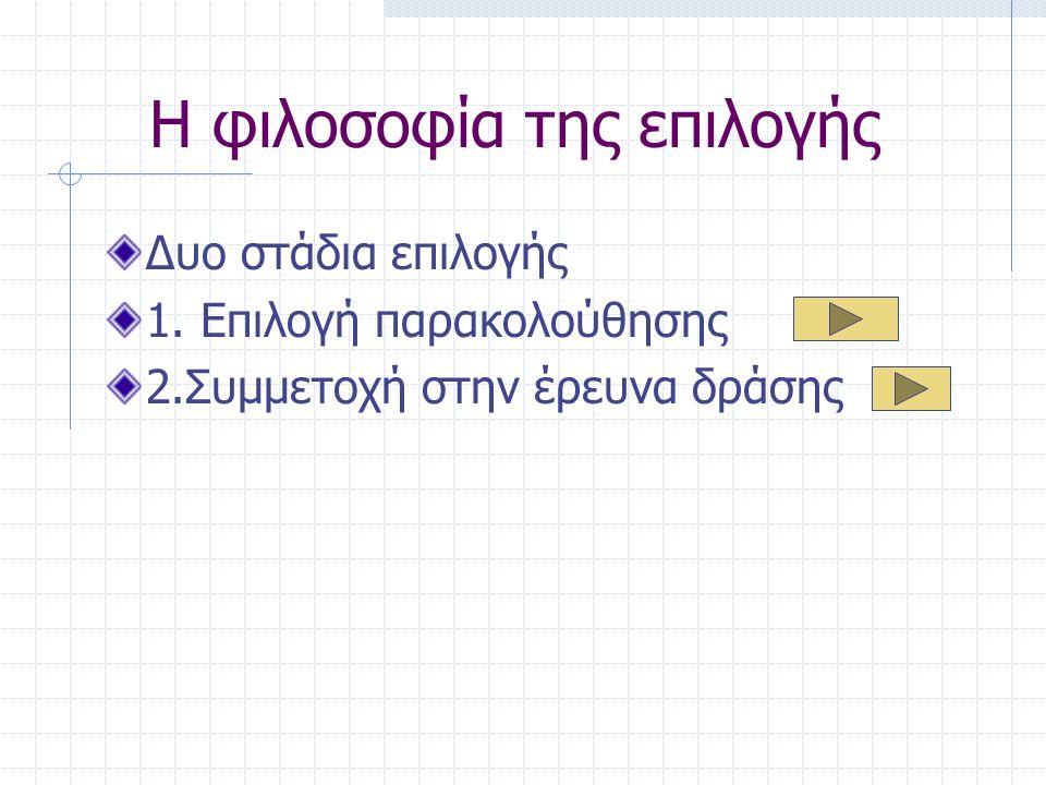 Η φιλοσοφία της επιλογής Δυο στάδια επιλογής 1.