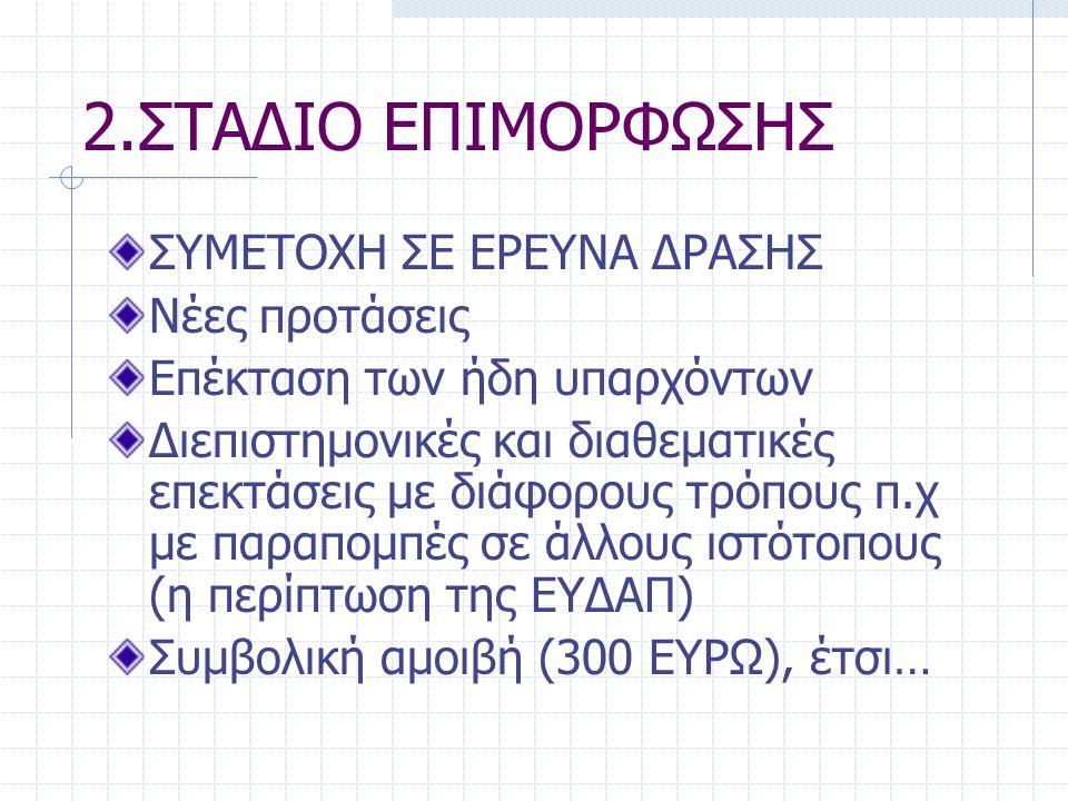 2.ΣΤΑΔΙΟ ΕΠΙΜΟΡΦΩΣΗΣ ΣΥΜΕΤΟΧΗ ΣΕ ΕΡΕΥΝΑ ΔΡΑΣΗΣ Νέες προτάσεις Επέκταση των ήδη υπαρχόντων Διεπιστημονικές και διαθεματικές επεκτάσεις με διάφορους τρόπους π.χ με παραπομπές σε άλλους ιστότοπους (η περίπτωση της ΕΥΔΑΠ) Συμβολική αμοιβή (300 ΕΥΡΩ), έτσι…