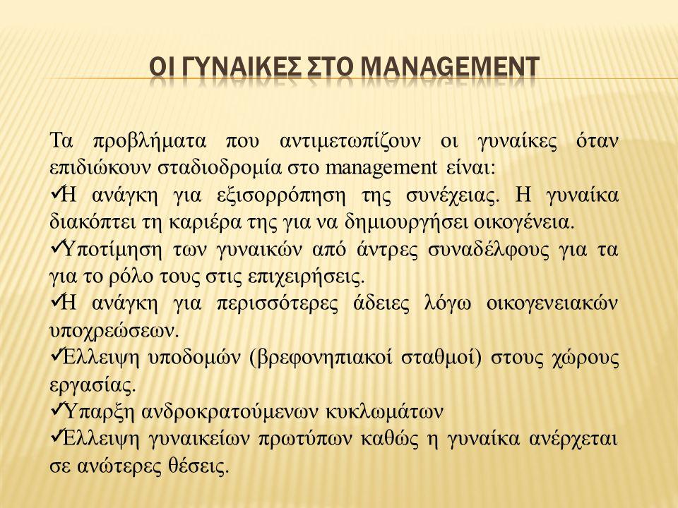 Τα προβλήματα που αντιμετωπίζουν οι γυναίκες όταν επιδιώκουν σταδιοδρομία στο management είναι: Η ανάγκη για εξισορρόπηση της συνέχειας.