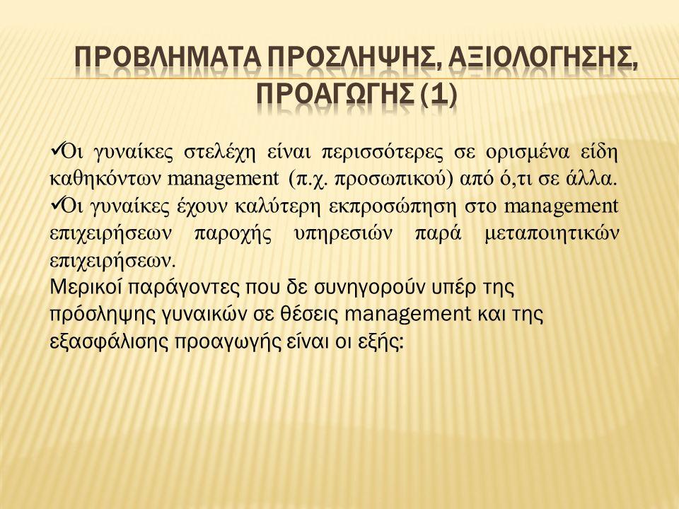 Οι γυναίκες στελέχη είναι περισσότερες σε ορισμένα είδη καθηκόντων management (π.χ.