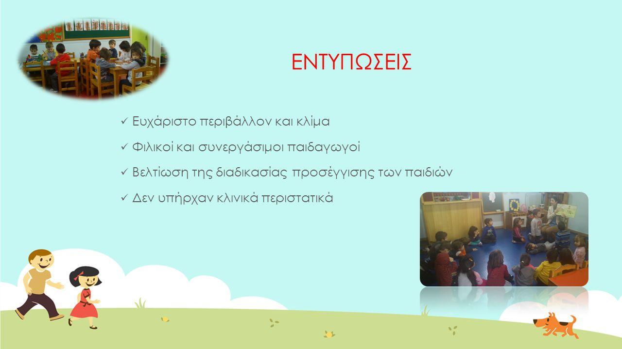 ΕΝΤΥΠΩΣΕΙΣ Ευχάριστο περιβάλλον και κλίμα Φιλικοί και συνεργάσιμοι παιδαγωγοί Βελτίωση της διαδικασίας προσέγγισης των παιδιών Δεν υπήρχαν κλινικά περιστατικά