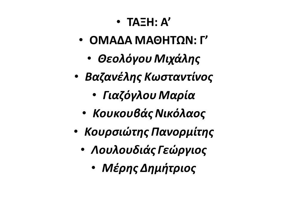 ΤΑΞΗ: Α' ΟΜΑΔΑ ΜΑΘΗΤΩΝ: Γ' Θεολόγου Μιχάλης Βαζανέλης Κωσταντίνος Γιαζόγλου Μαρία Κουκουβάς Νικόλαος Κουρσιώτης Πανορμίτης Λουλουδιάς Γεώργιος Μέρης Δημήτριος